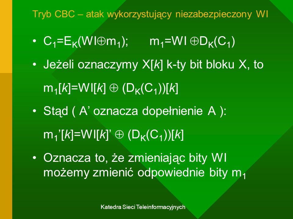 Katedra Sieci Teleinformacyjnych Tryb CBC – atak wykorzystujący niezabezpieczony WI C 1 =E K (WI  m 1 );m 1 =WI  D K (C 1 ) Jeżeli oznaczymy X[k] k-ty bit bloku X, to m 1 [k]=WI[k]  (D K (C 1 ))[k] Stąd ( A' oznacza dopełnienie A ): m 1 '[k]=WI[k]'  (D K (C 1 ))[k] Oznacza to, że zmieniając bity WI możemy zmienić odpowiednie bity m 1