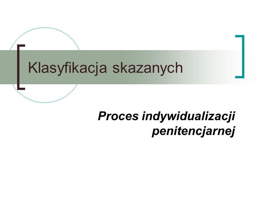 Klasyfikacja skazanych Proces indywidualizacji penitencjarnej