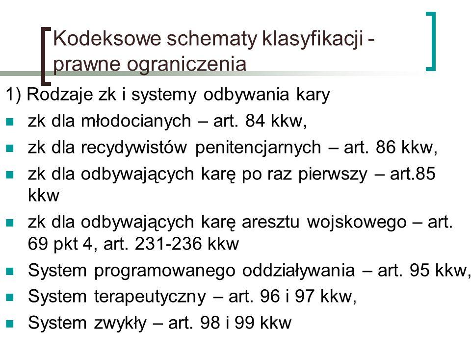 Kodeksowe schematy klasyfikacji - prawne ograniczenia 1) Rodzaje zk i systemy odbywania kary zk dla młodocianych – art. 84 kkw, zk dla recydywistów pe