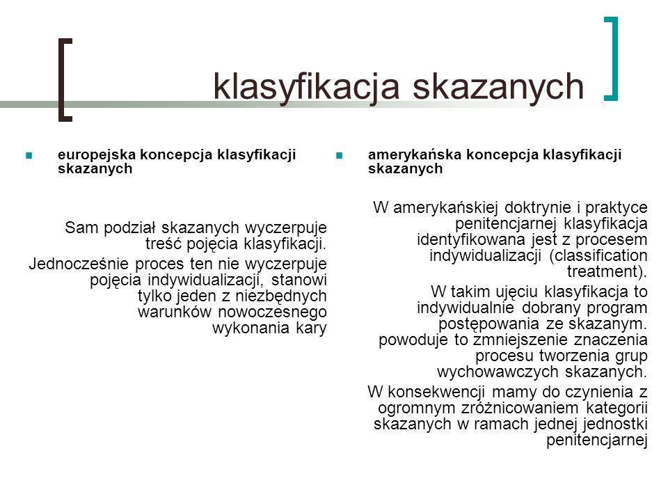 klasyfikacja skazanych europejska koncepcja klasyfikacji skazanych Sam podział skazanych wyczerpuje treść pojęcia klasyfikacji. Jednocześnie proces te
