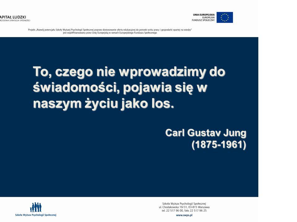 To, czego nie wprowadzimy do świadomości, pojawia się w naszym życiu jako los. Carl Gustav Jung (1875-1961)