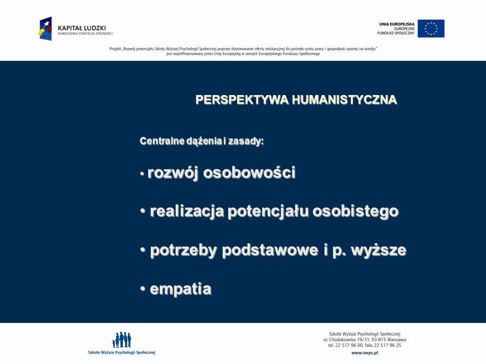 PERSPEKTYWA HUMANISTYCZNA Centralne dążenia i zasady: rozwój osobowości rozwój osobowości realizacja potencjału osobistego realizacja potencjału osobi