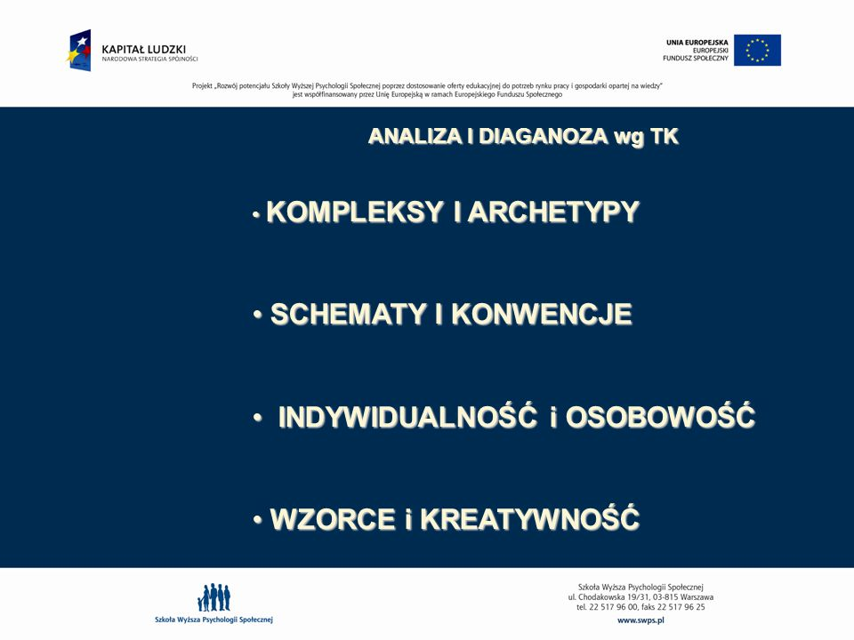 ANALIZA I DIAGANOZA wg TK KOMPLEKSY – dezorientacja w rzeczywistości wewn.