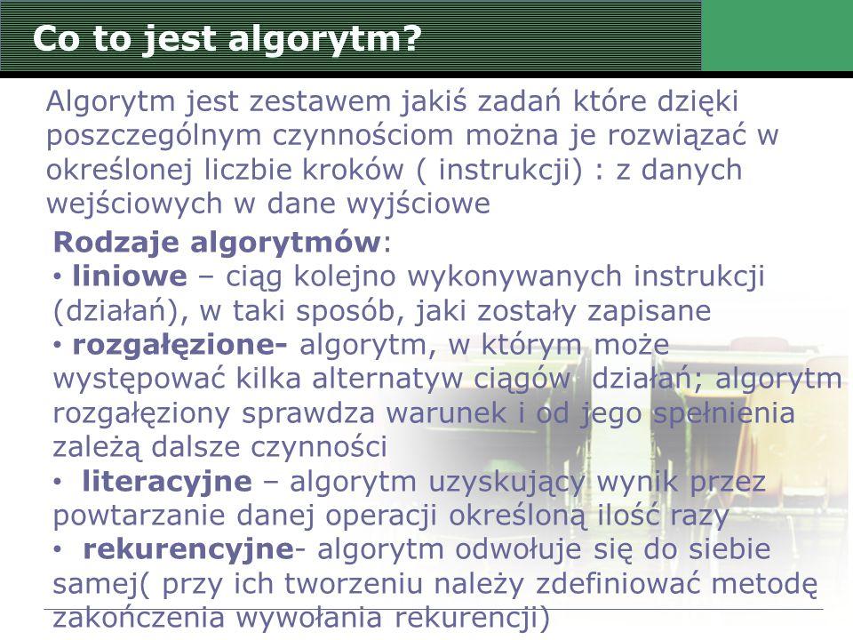 Co to jest algorytm? Algorytm jest zestawem jakiś zadań które dzięki poszczególnym czynnościom można je rozwiązać w określonej liczbie kroków ( instru