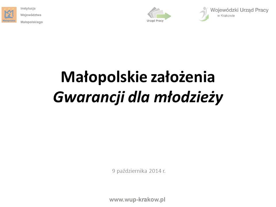 Kształcenie zawodowe dostosowane do potrzeb rynku pracy Regionalny Program Operacyjny Województwa Małopolskiego Rozwój kompetencji kluczowych uczniów Poradnictwo edukacyjno- zawodowe od poziomu gimnazjum Kształcenie przez całe życie Wejście na rynek pracy Gwarancje dla Młodzieży Łączenie życia zawodowego i prywatnego Młodzi w Małopolsce 2014 - 2020