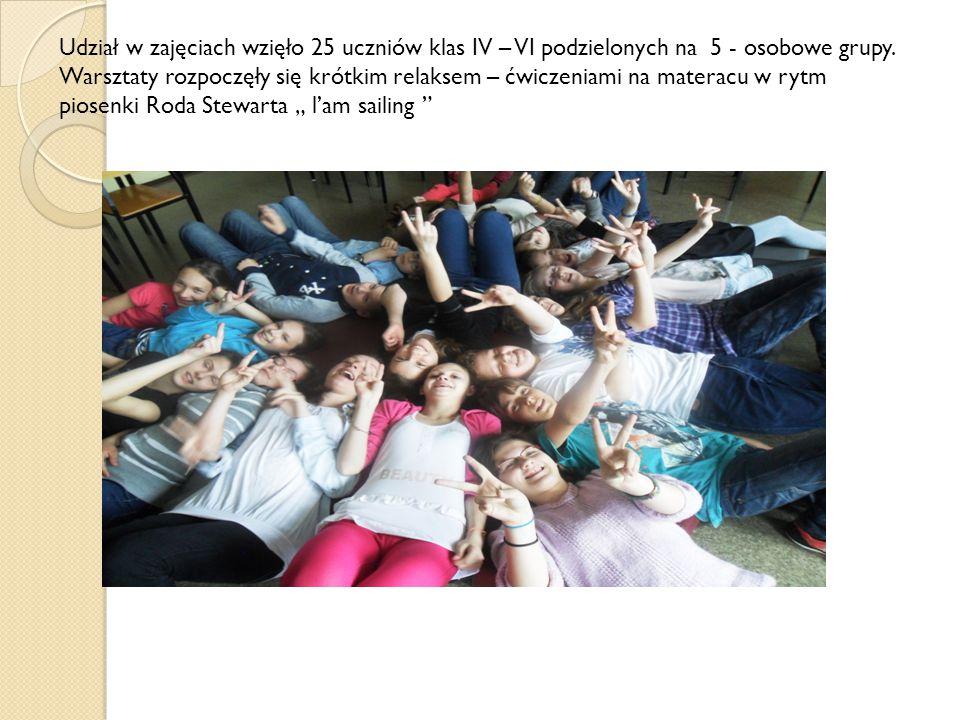 Udział w zajęciach wzięło 25 uczniów klas IV – VI podzielonych na 5 - osobowe grupy.