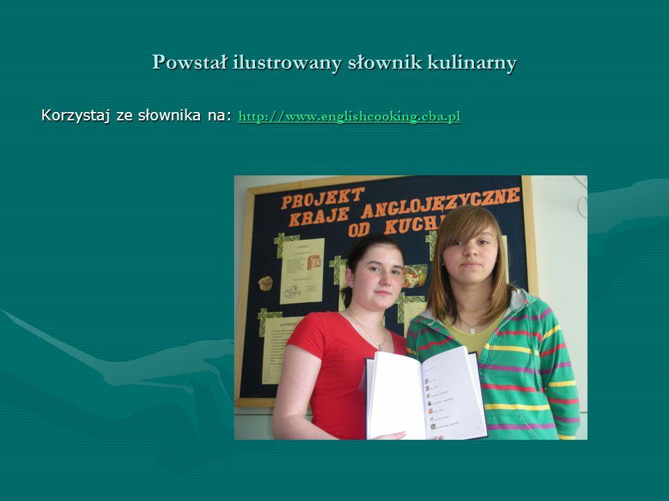 Powstał ilustrowany słownik kulinarny Korzystaj ze słownika na: http://www.englishcooking.cba.pl http://www.englishcooking.cba.pl