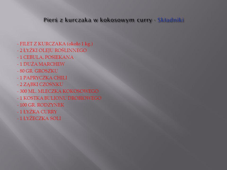 - FILET Z KURCZAKA (około 1 kg.) - 2 ŁYŻKI OLEJU ROŚLINNEGO - 1 CEBULA, POSIEKANA - 1 DUŻA MARCHEW - 80 GR.