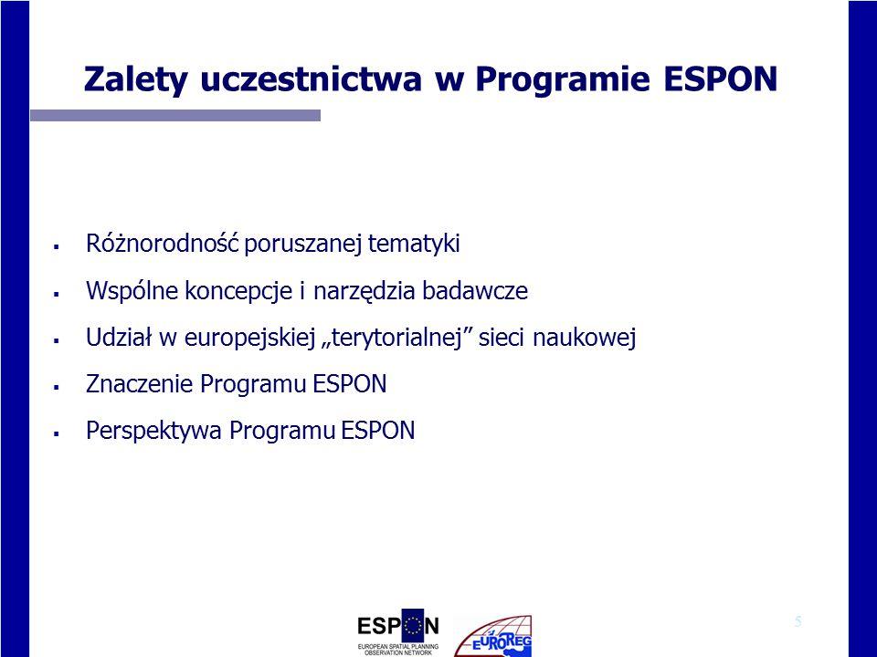 """5 Zalety uczestnictwa w Programie ESPON  Różnorodność poruszanej tematyki  Wspólne koncepcje i narzędzia badawcze  Udział w europejskiej """"terytorialnej sieci naukowej  Znaczenie Programu ESPON  Perspektywa Programu ESPON"""