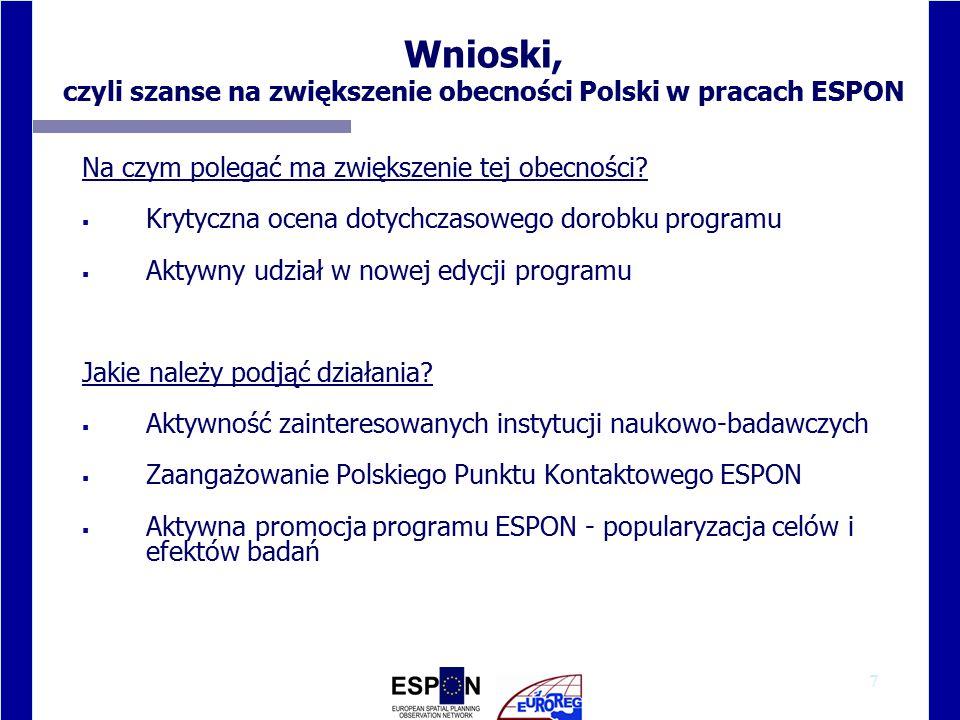 7 Wnioski, czyli szanse na zwiększenie obecności Polski w pracach ESPON Na czym polegać ma zwiększenie tej obecności.