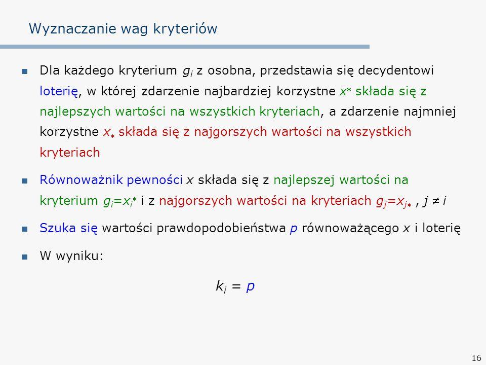 16 Wyznaczanie wag kryteriów Dla każdego kryterium g i z osobna, przedstawia się decydentowi loterię, w której zdarzenie najbardziej korzystne x  skł