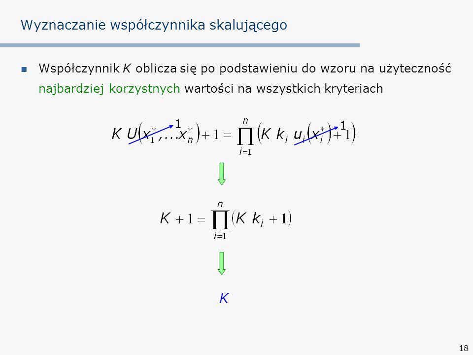 18 Wyznaczanie współczynnika skalującego Współczynnik K oblicza się po podstawieniu do wzoru na użyteczność najbardziej korzystnych wartości na wszyst