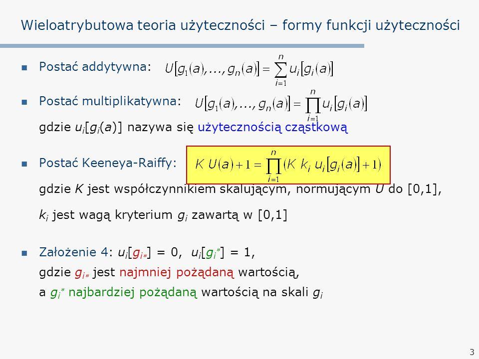 3 Postać addytywna: Postać multiplikatywna: gdzie u i [g i (a)] nazywa się użytecznością cząstkową Postać Keeneya-Raiffy: gdzie K jest współczynnikiem