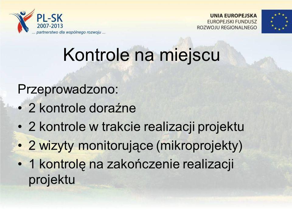 Kontrole na miejscu Przeprowadzono: 2 kontrole doraźne 2 kontrole w trakcie realizacji projektu 2 wizyty monitorujące (mikroprojekty) 1 kontrolę na za