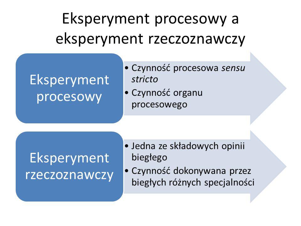 Eksperyment procesowy a eksperyment rzeczoznawczy Czynność procesowa sensu stricto Czynność organu procesowego Eksperyment procesowy Jedna ze składowych opinii biegłego Czynność dokonywana przez biegłych różnych specjalności Eksperyment rzeczoznawczy