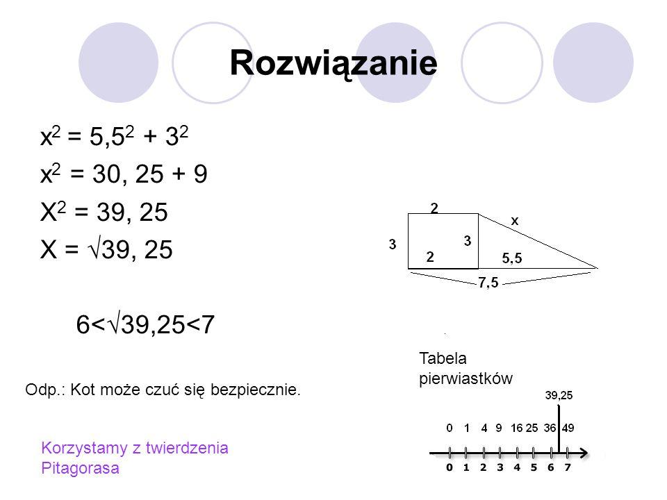 Rozwiązanie x 2 = 5,5 2 + 3 2 x 2 = 30, 25 + 9 X 2 = 39, 25 X = √39, 25 6<√39,25<7 Tabela pierwiastków Odp.: Kot może czuć się bezpiecznie.