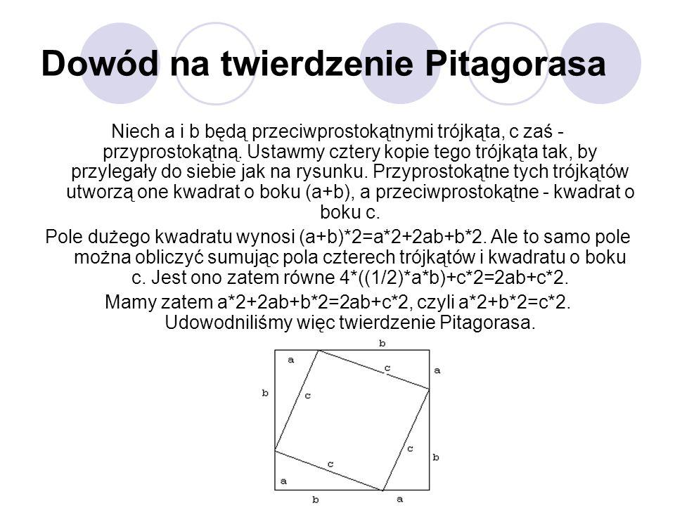 Dowód na twierdzenie Pitagorasa Niech a i b będą przeciwprostokątnymi trójkąta, c zaś - przyprostokątną. Ustawmy cztery kopie tego trójkąta tak, by pr