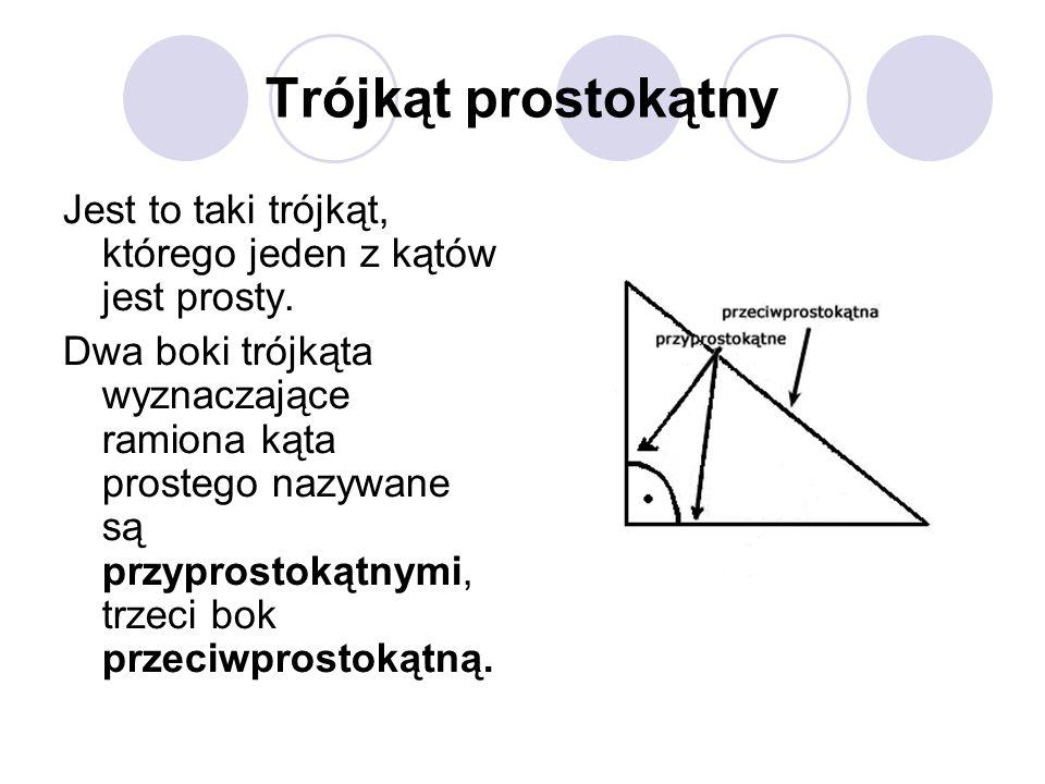 Trójkąt prostokątny Jest to taki trójkąt, którego jeden z kątów jest prosty. Dwa boki trójkąta wyznaczające ramiona kąta prostego nazywane są przypros