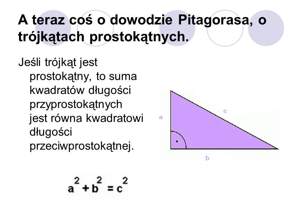 A teraz coś o dowodzie Pitagorasa, o trójkątach prostokątnych.