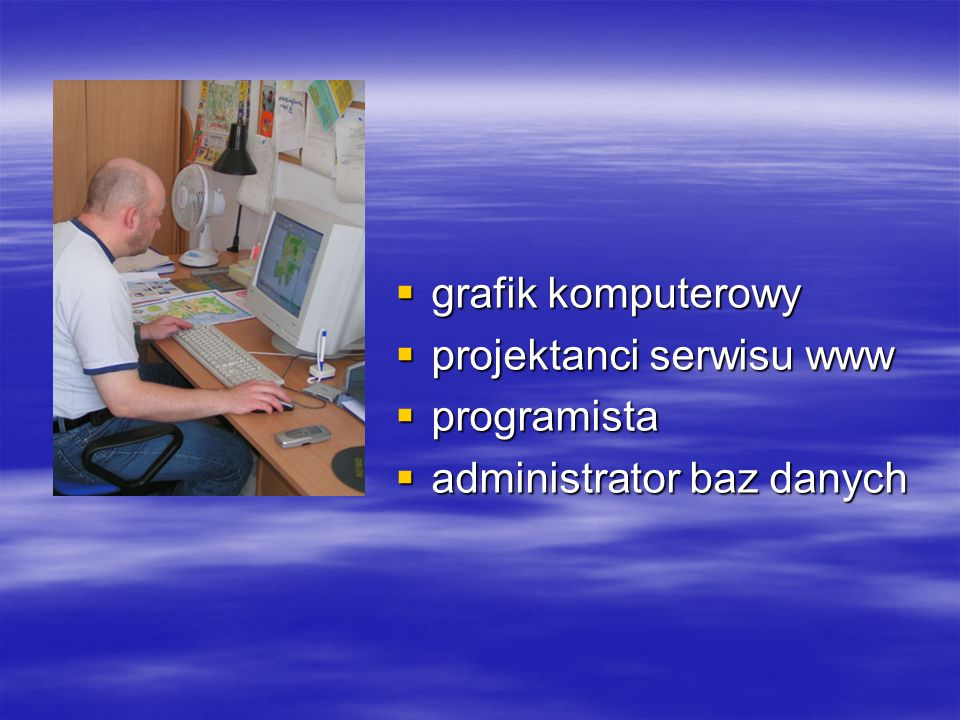  grafik komputerowy  projektanci serwisu www  programista  administrator baz danych