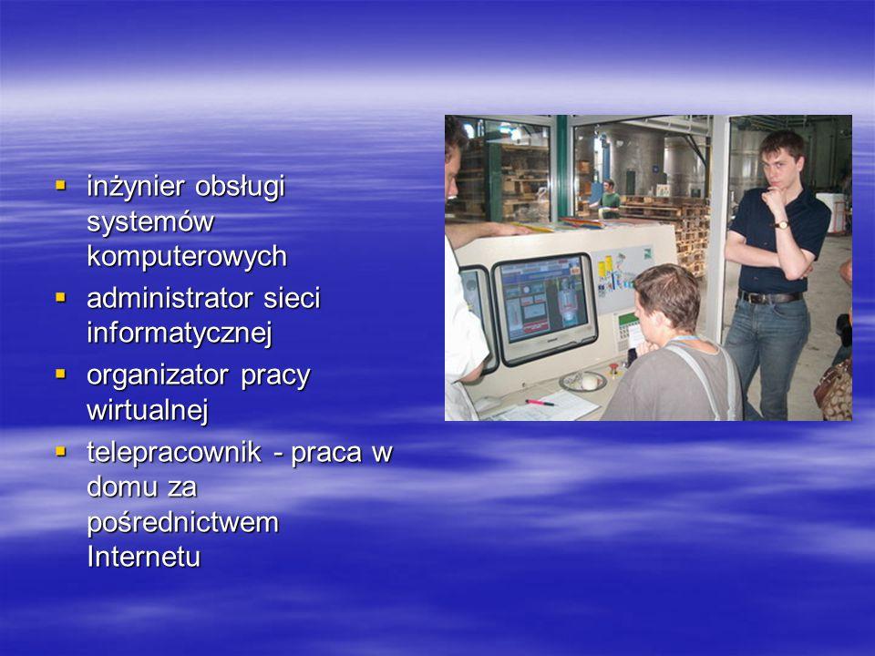  inżynier obsługi systemów komputerowych  administrator sieci informatycznej  organizator pracy wirtualnej  telepracownik - praca w domu za pośrednictwem Internetu