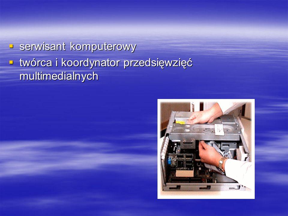  serwisant komputerowy  twórca i koordynator przedsięwzięć multimedialnych
