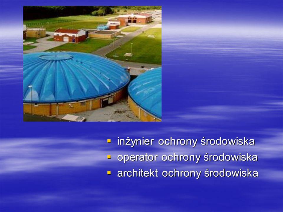  inżynier ochrony środowiska  operator ochrony środowiska  architekt ochrony środowiska