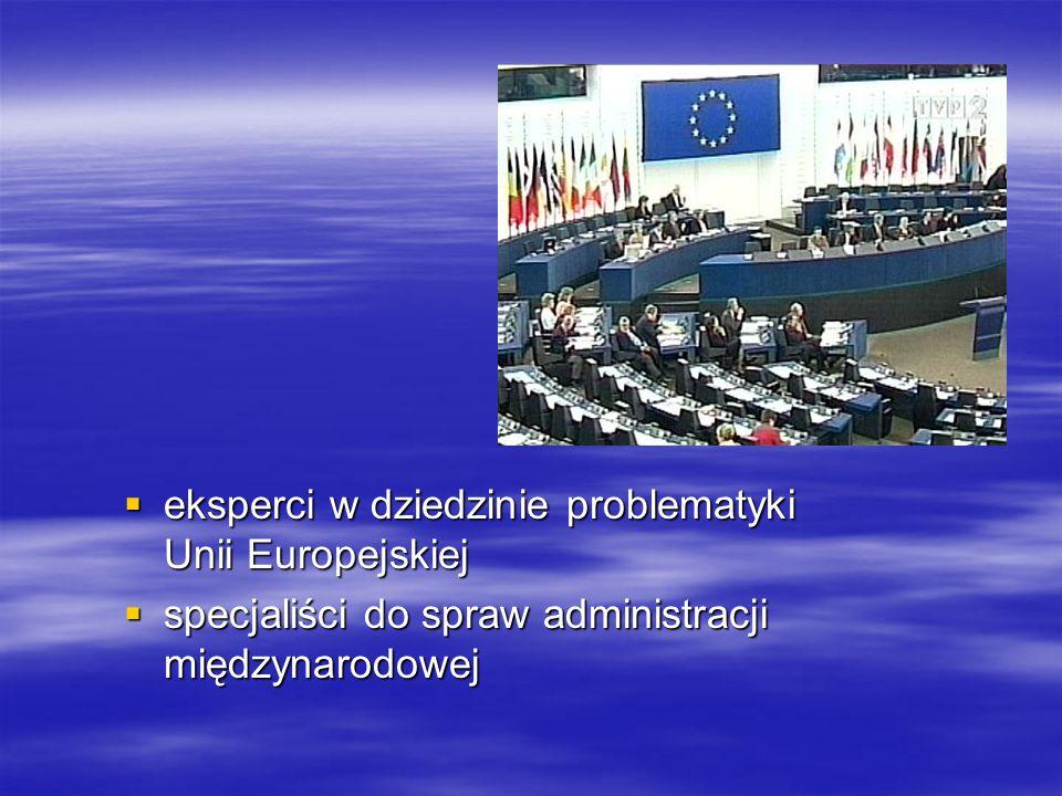  eksperci w dziedzinie problematyki Unii Europejskiej  specjaliści do spraw administracji międzynarodowej