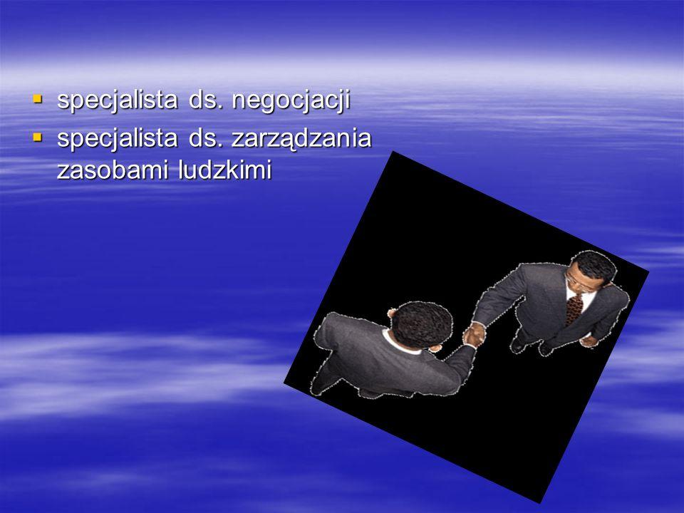  specjalista ds. negocjacji  specjalista ds. zarządzania zasobami ludzkimi