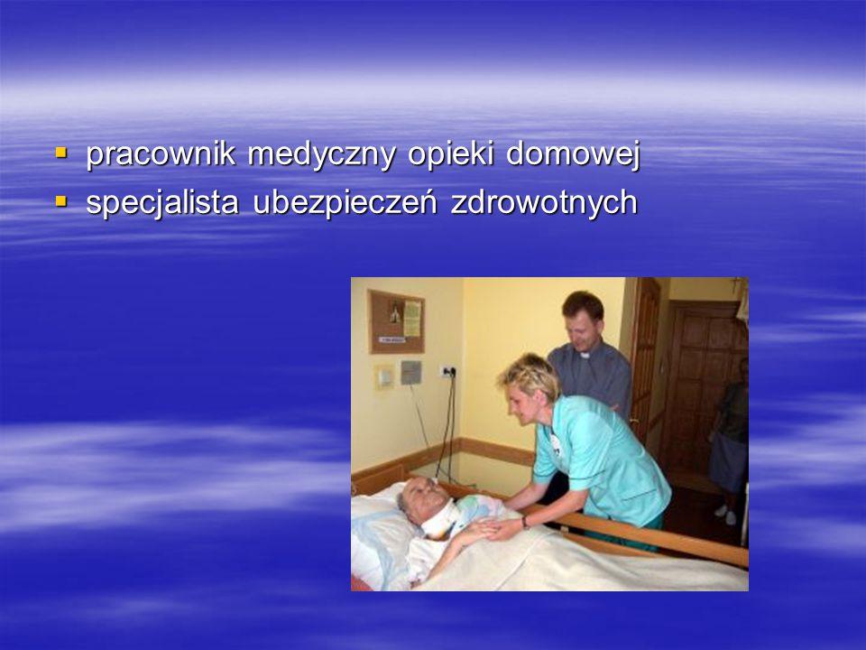  pracownik medyczny opieki domowej  specjalista ubezpieczeń zdrowotnych