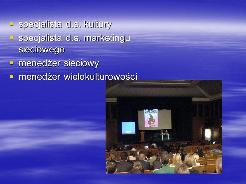  specjalista d.s. kultury  specjalista d.s. marketingu sieciowego  menedżer sieciowy  menedżer wielokulturowości