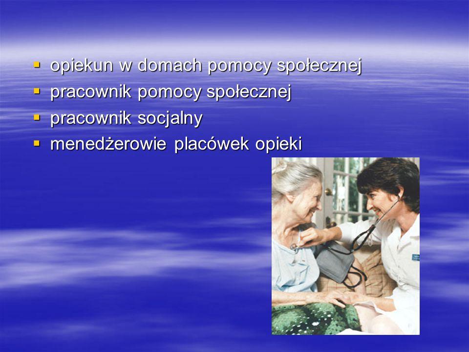  opiekun w domach pomocy społecznej  pracownik pomocy społecznej  pracownik socjalny  menedżerowie placówek opieki