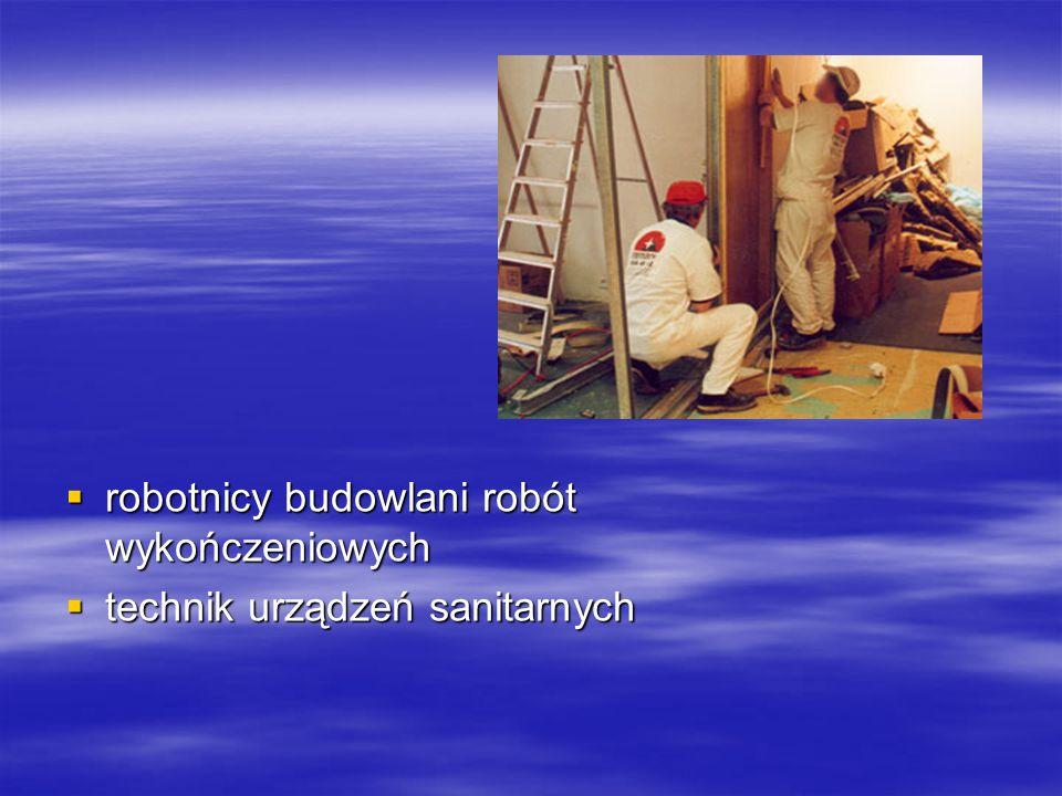  robotnicy budowlani robót wykończeniowych  technik urządzeń sanitarnych