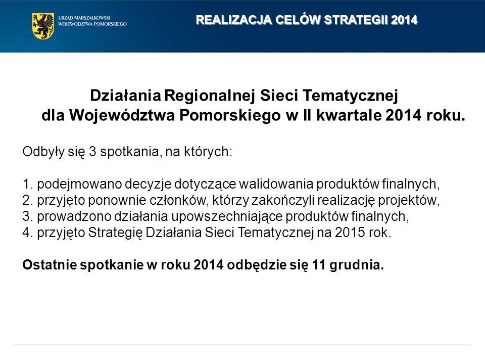 REALIZACJA CELÓW STRATEGII 2014 Działania Regionalnej Sieci Tematycznej dla Województwa Pomorskiego w II kwartale 2014 roku. Odbyły się 3 spotkania, n