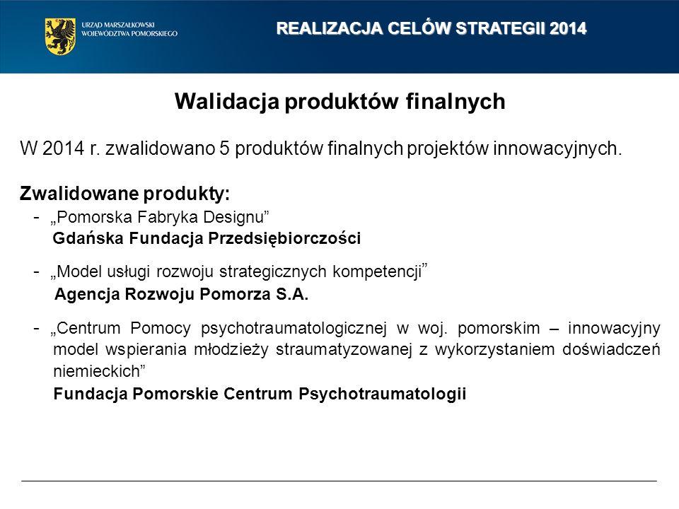 Walidacja produktów finalnych W 2014 r. zwalidowano 5 produktów finalnych projektów innowacyjnych.