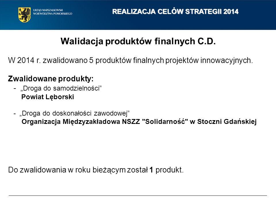 """Walidacja produktów finalnych C.D. W 2014 r. zwalidowano 5 produktów finalnych projektów innowacyjnych. Zwalidowane produkty: - """" Droga do samodzielno"""