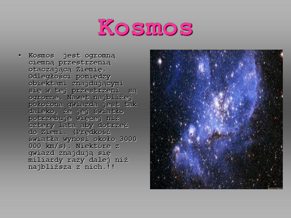 Kosmos Kosmos jest ogromną ciemną przestrzenią otaczającą Ziemię.