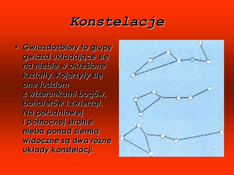 Konstelacje Gwiazdozbiory to grupy gwiazd układające się na niebie w określone kształty.