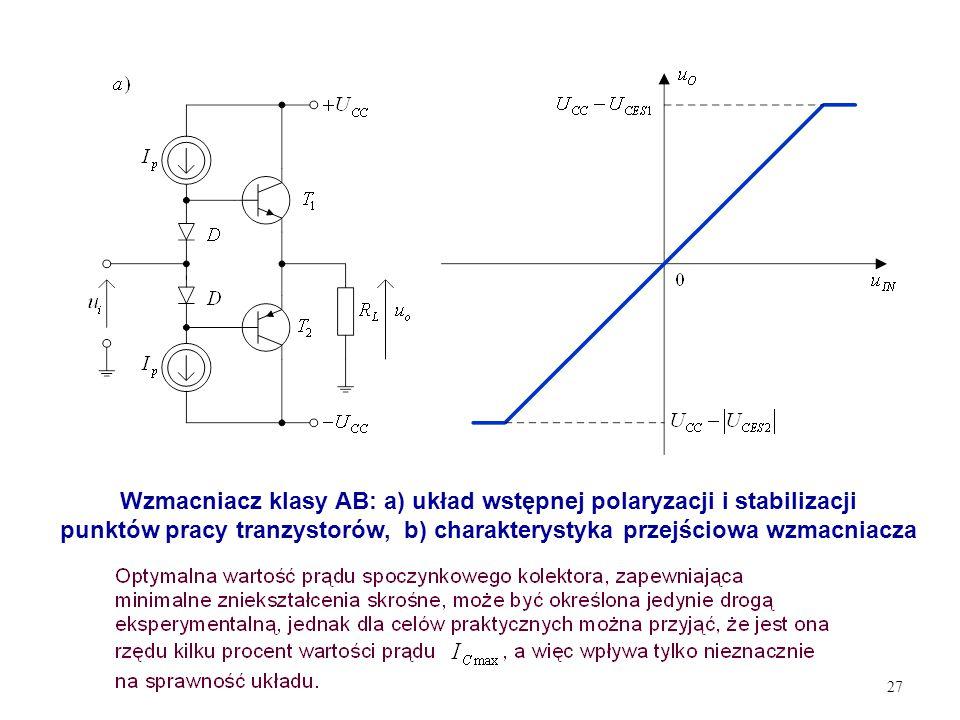 27 Wzmacniacz klasy AB: a) układ wstępnej polaryzacji i stabilizacji punktów pracy tranzystorów, b) charakterystyka przejściowa wzmacniacza