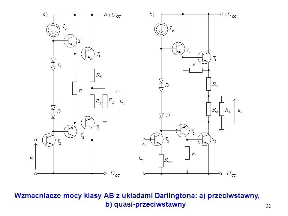 32 Wzmacniacze mocy klasy AB z układami Darlingtona: a) przeciwstawny, b) quasi-przeciwstawny