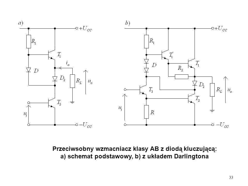 33 Przeciwsobny wzmacniacz klasy AB z diodą kluczującą: a) schemat podstawowy, b) z układem Darlingtona