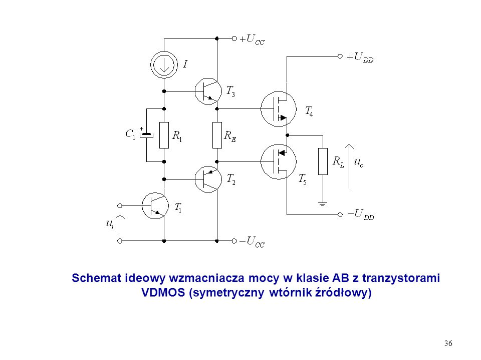 36 Schemat ideowy wzmacniacza mocy w klasie AB z tranzystorami VDMOS (symetryczny wtórnik źródłowy)