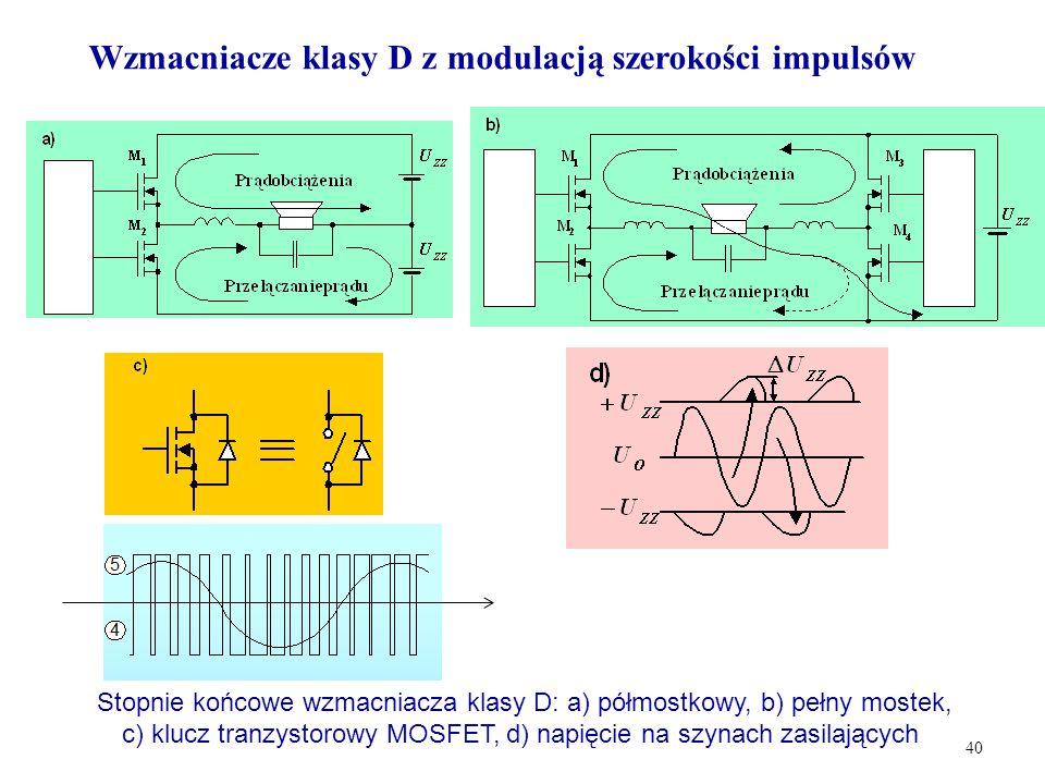 40 Stopnie końcowe wzmacniacza klasy D: a) półmostkowy, b) pełny mostek, c) klucz tranzystorowy MOSFET, d) napięcie na szynach zasilających Wzmacniacz