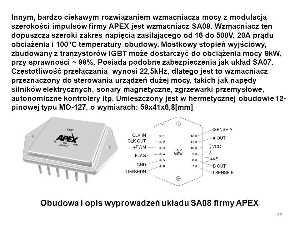 48 Obudowa i opis wyprowadzeń układu SA08 firmy APEX Innym, bardzo ciekawym rozwiązaniem wzmacniacza mocy z modulacją szerokości impulsów firmy APEX j