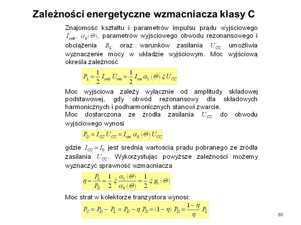 60 Zależności energetyczne wzmacniacza klasy C