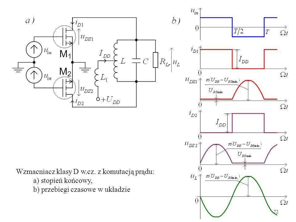 72 Wzmacniacz klasy D w.cz. z komutacją prądu: a) stopień końcowy, b) przebiegi czasowe w układzie