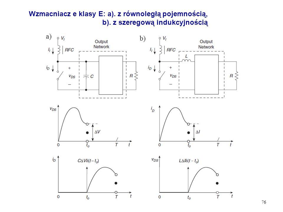 76 Wzmacniacz e klasy E: a). z równoległą pojemnością, b). z szeregową indukcyjnością a) b)