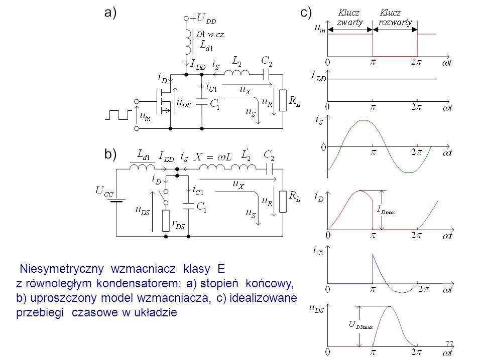 77 Niesymetryczny wzmacniacz klasy E z równoległym kondensatorem: a) stopień końcowy, b) uproszczony model wzmacniacza, c) idealizowane przebiegi czas