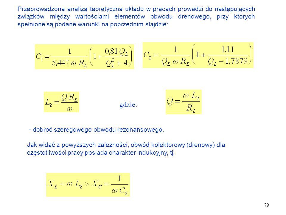 79 Przeprowadzona analiza teoretyczna układu w pracach prowadzi do następujących związków między wartościami elementów obwodu drenowego, przy których