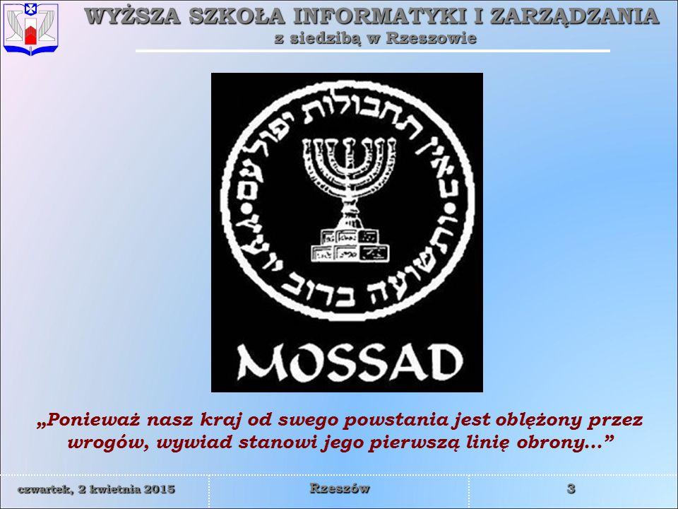 WYŻSZA SZKOŁA INFORMATYKI I ZARZĄDZANIA z siedzibą w Rzeszowie 4 czwartek, 2 kwietnia 2015czwartek, 2 kwietnia 2015czwartek, 2 kwietnia 2015czwartek, 2 kwietnia 2015 Rzeszów W 1947 ONZ zatwierdziło projekt podziału Palestyny na dwa państwa: żydowskie i arabskie.
